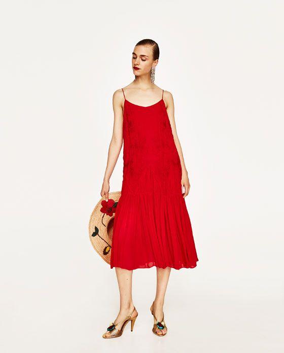 Vestido rojo largo zara