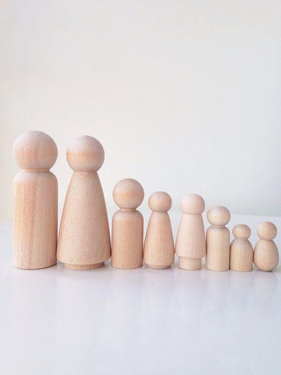 Personalized peg doll family set of 4 by madebylayla on Etsy