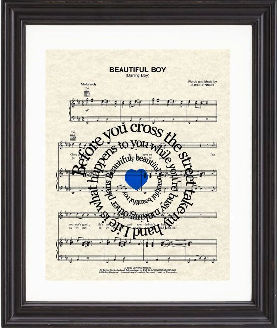 Beautiful Boy, Song Lyrics, Sheet Music, Art Print, John Lennon, Nursery,New Baby,Child's Room,Spiral Song Lyric on Etsy, $15.00