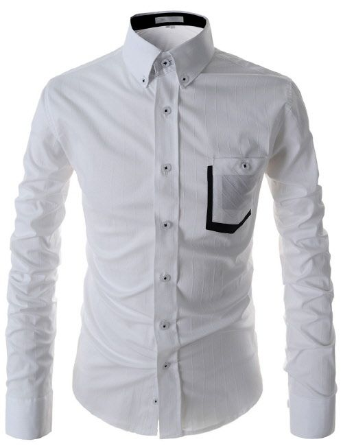 (AL117-WHITE) Slim Fit Button Down Chest Pocket Patched Stretchy Long Sleeve Shirts
