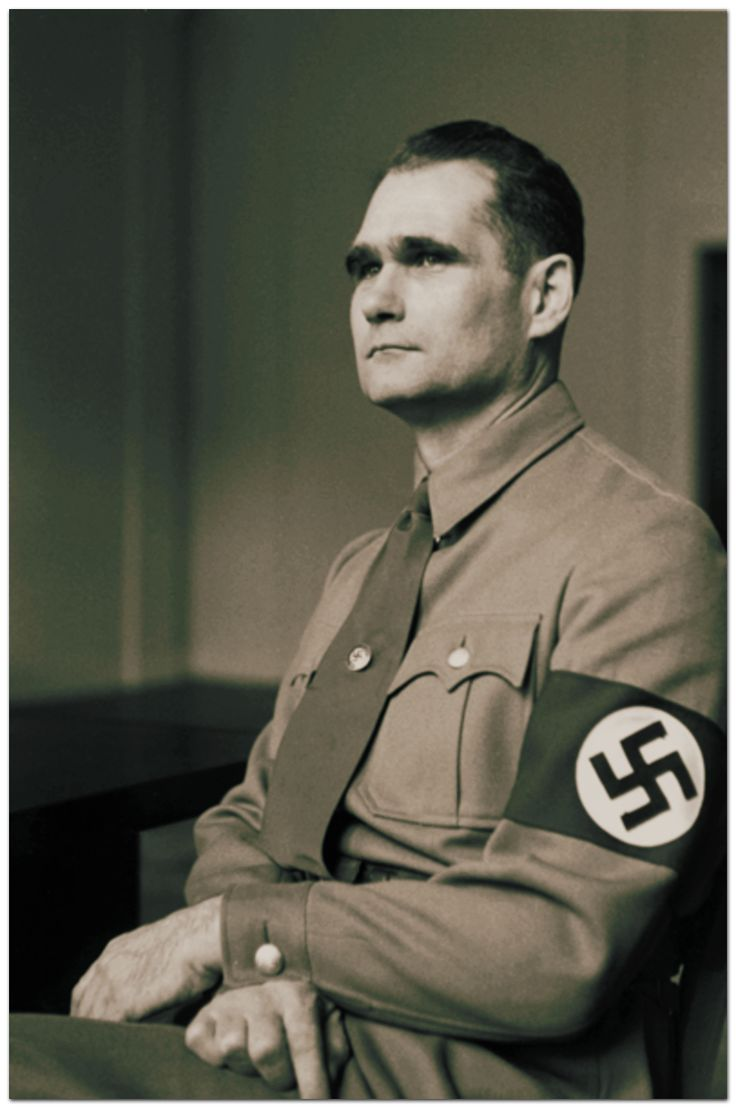 """Rudolf Hess (1894-1987). Minister of the Reich, Hitler's deputy. Born in Egypt, of a Jewish mother holding a British passport. Gay man, known in Munich environment as """"Miss Anna""""."""