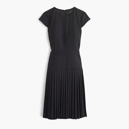 "Your office essentials: paper clips, pens and now, pleats. This dress is crafted in our famous Super 120s wool, a four-season wool known for its smooth, refined finish. <ul><li>A-line silhouette.</li><li>Falls above knee, 40 3/4"" from high point of shoulder (based on size 6).</li><li>Super 120s merino wool.</li><li>Back zip.</li><li>Partially lined.</li><li>Dry clean.</li><li>Import.</li></ul>"