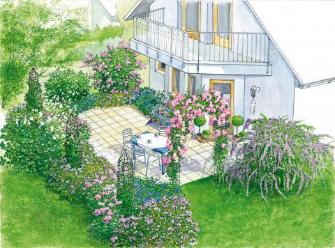 Terrasse Kletterrose und Blütenstauden
