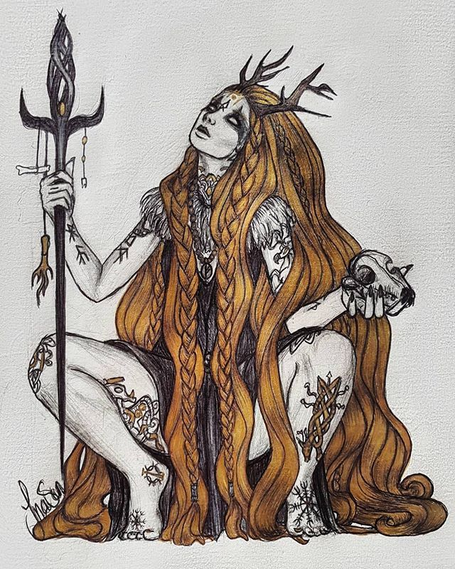 Repost Inasunart 3 Inktober The Volva What Kind Of Witches Do You Like So This Is My Ancestors Witches From Norway Norse Goddess Norse Pagan Pagan Art