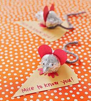 Sweet Mice: Made of two chocolate Hershey's Kisses and a Heart-shaped Set of Ears. Too cute!