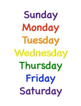 Printable Months Of The Year And Days Of The Week