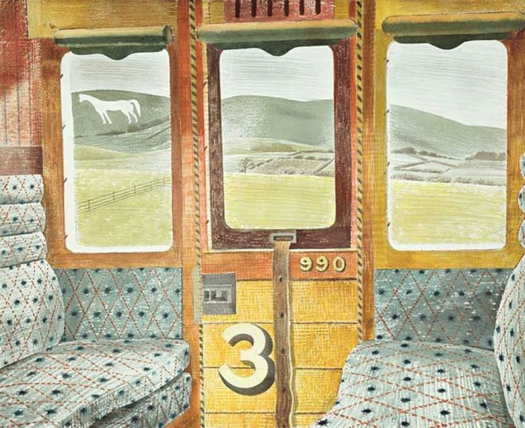 Train Landscape by Eric Ravilious, 1939. (The chalk figure of the Westbury Horse is seen from the window of the train carriage)