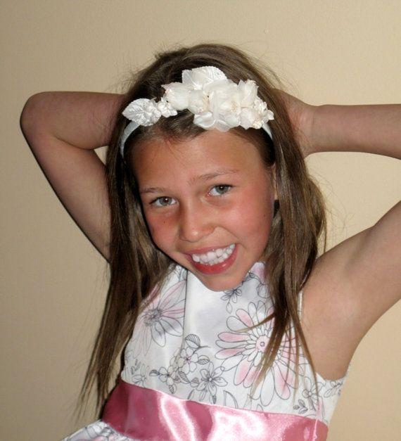 Girls Headband Ivory Flower Girl Wedding Hair Accessory 1195