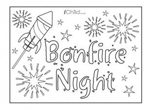this printable bonfire night poster can be decorated and hung up to celebrate