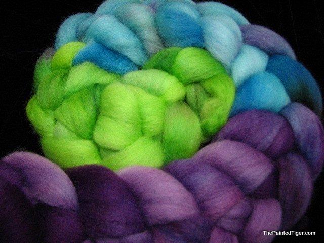 Hand Dyed Polwarth Wool Combed Top Darner Dragonfly - by The Painted Tiger