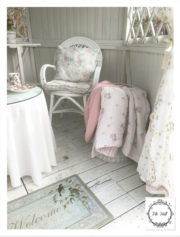 White shabby chic chair, and plaids in my romantic garden pavillon