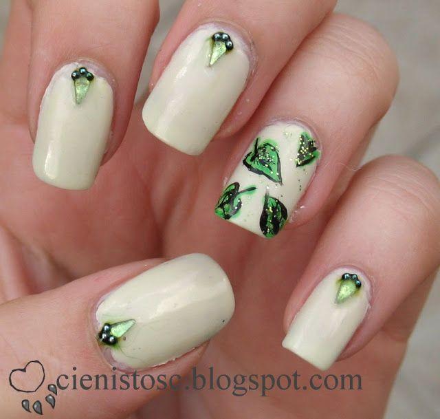 Cieniste zdobienie naturalnych paznokci: Listki