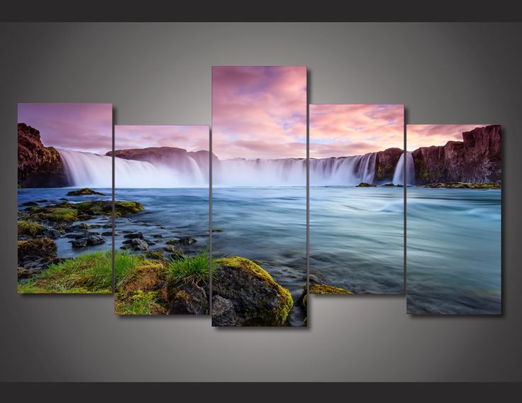 5 Pieces Multi Panel Modern Home Decor Framed Waterfall Nature Scenery Wall Canvas Art