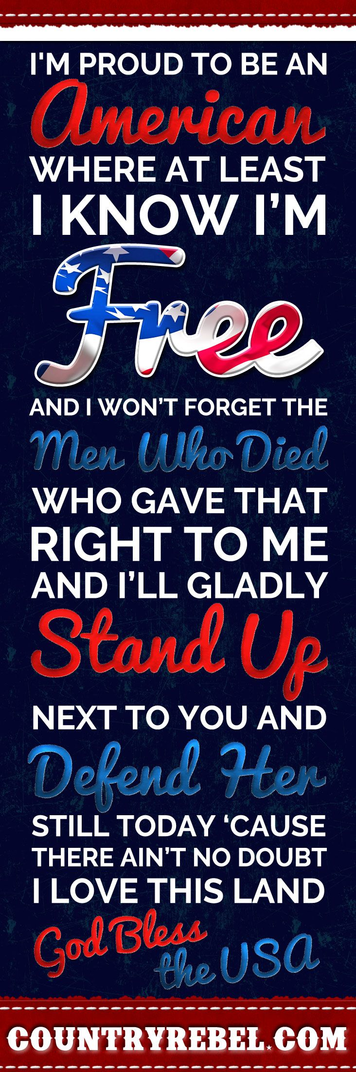 Country Music Quotes - Lyrics | Lee Greenwood God Bless The USA