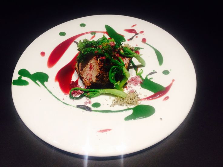 Pork fillet in walnuts and black tea crust, beetroot and broccoli rabe.