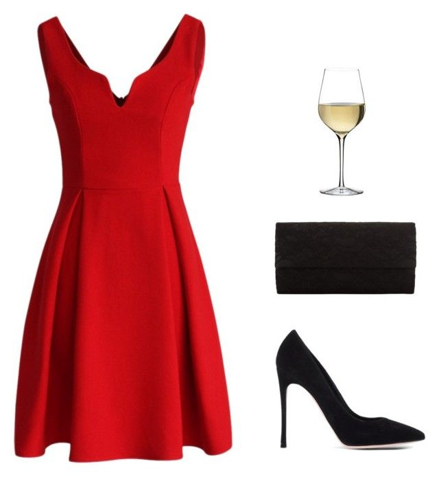"""""""Christmas Party Outfit"""" by presque ❤ liked on Polyvore featuring Gianvito Rossi, Chicwish, John Lewis and Waterford"""