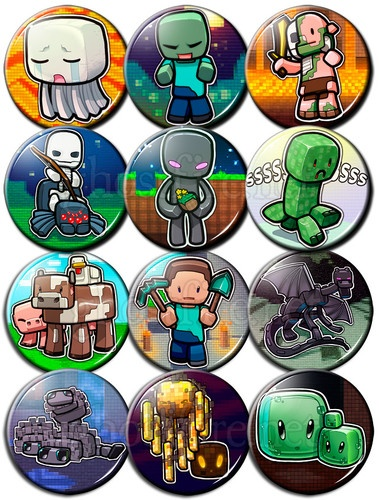 """Minecraft Chibi 1.75"""" Pin-Backed Buttons - Set of 12 - Enderman, Creeper, +more"""