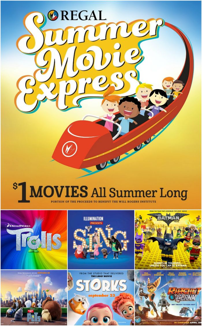 2017 Regal Summer Movie Express $1 movie schedule. Kids movies on Tuesdays and Wednesdays at 10 am for $1 all summer long.