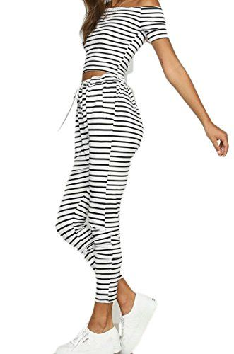2235c67d KLJR-Women Sexy Off Shoulder Striped Crop Tops Pants 2 Pieces Outfits