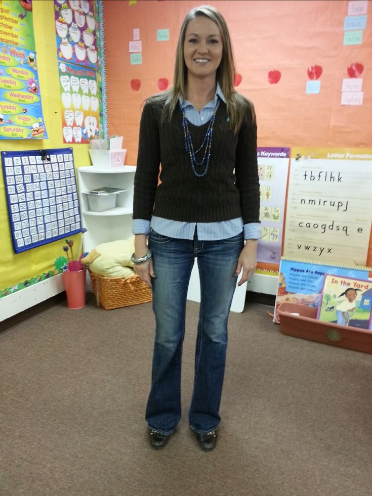 Seriously?A 'teacher clothes blog'??! Teacher Clothing Blog-Brown & Blue - Layering on top, always a cute look!