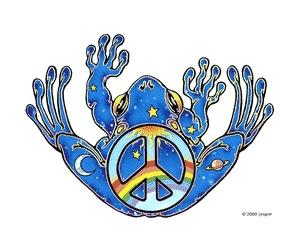 peace frog vinyl window decal
