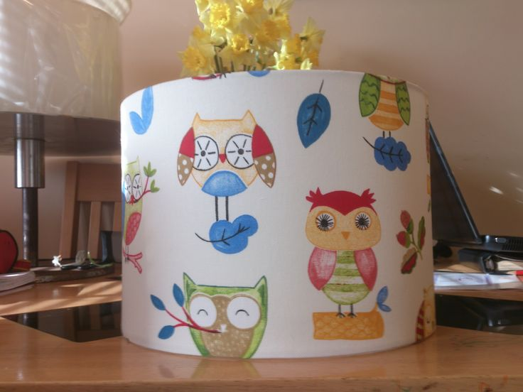 Ollie the owl fabric covered lampshade