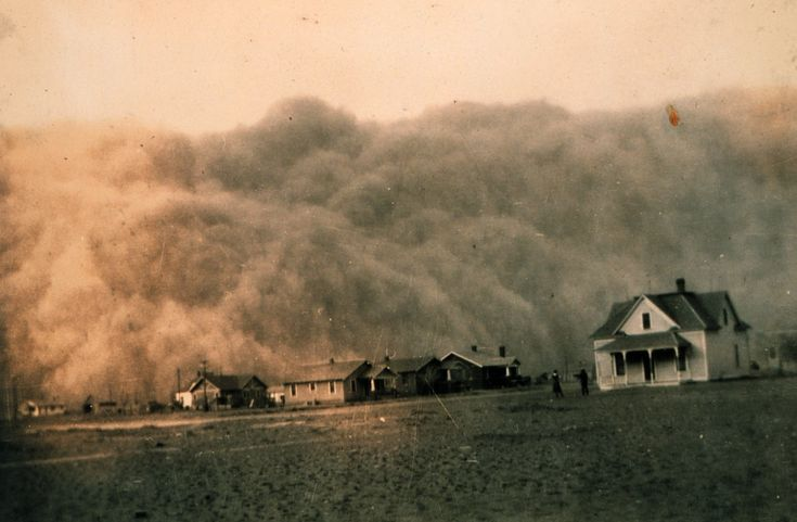 """In 1931 the rains stopped and the """"black blizzards"""" began. Powerful dust storms carrying millions of tons of stinging, blinding black dirt swept across the Southern Plains—the panhandles of Texas and Oklahoma, western Kansas, and the eastern portions of Colorado and New Mexico. Topsoil that had taken a thousand years per inch to build suddenly blew away in only minutes. One journalist traveling through the devastated region dubbed it the """"Dust Bowl."""
