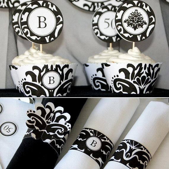 DIY, Damask Black and white, Party Printables -Complete Set - EDITABLE w. MONOGRAM. $10.00, via Etsy.