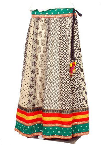 White Blockprinted Skirt – Desically Ethnic