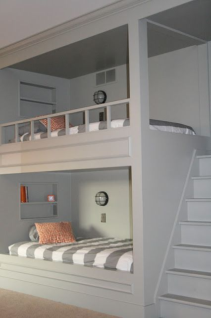 That's the way to do bunk beds.: Idea, Stairs, Bunk Beds, Bunk Rooms, House, Guest Rooms, Bunkbeds, Built In Bunk, Kids Rooms