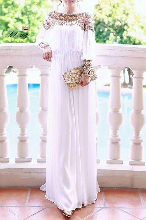 Beaded Chiffon Long Sleeve Maxi Dress