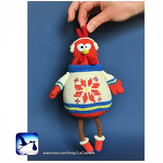 Rooster amigurumi toy. Amigurumi crochet toy. Christmas gift. Toys by LaCigogne