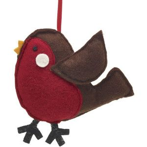 Wilko Forest Friends Robin Hanging Christmas Tree Decoration ...