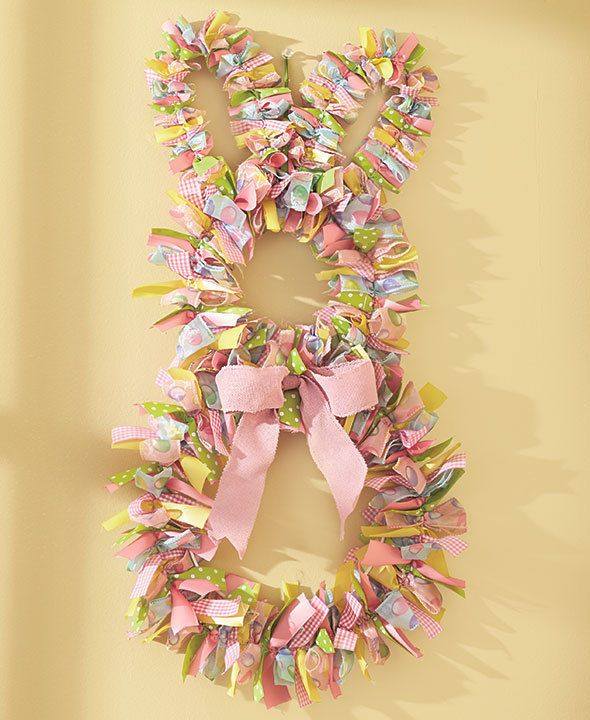 Easter bunny wreath spring colors table spring decor for 3 wreath door decoration