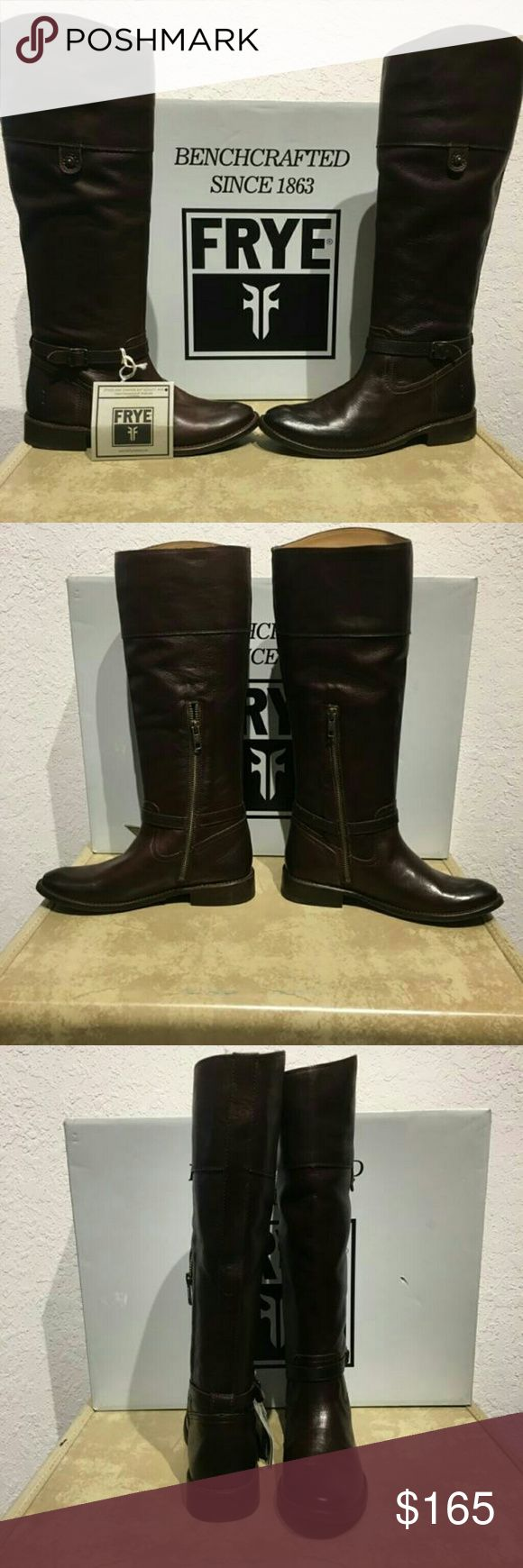 """Frye Women's Shorey Rivet Tall Brown Leather Boots This classic tall leather boot is a fall stable. It has an equestrian-inspired design with a rounded toe, low heel and includes buckle and rivet accents. The boot is a soft leather with an inside zipper for a smoother and more secure fit to your leg. This item is new in box.  Measurements Boot Size: 6 Circumference: 15"""" Shaft Height: 14"""" Heel Height: 1"""" Frye Shoes Heeled Boots"""