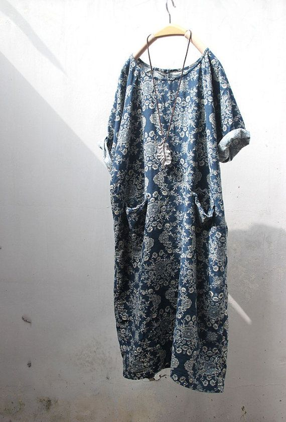 Folk long tunic retro blue print linen dress by TangDynastyJasmine