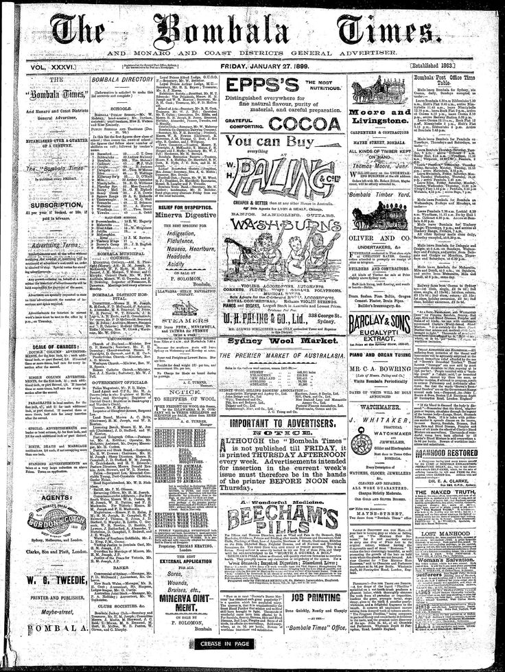 Bombala Times And Manaro And Coast Districts General Advertiser (NSW) - Australian Newspapers - MyHeritage