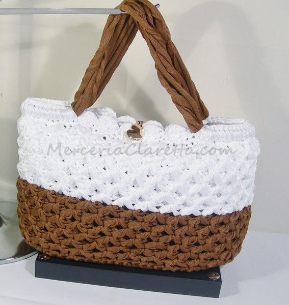 FILATO ORIZZONTE. BY CLARA NEGRI. YARN: HORIZON BY CLARA NEGRI BORSA:CREAM and CHOCOLATE