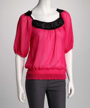 Take a look at this The WISH Collection Fuchsia & Black Smocked Top by The WISH Collection & Gracia on #zulily today!