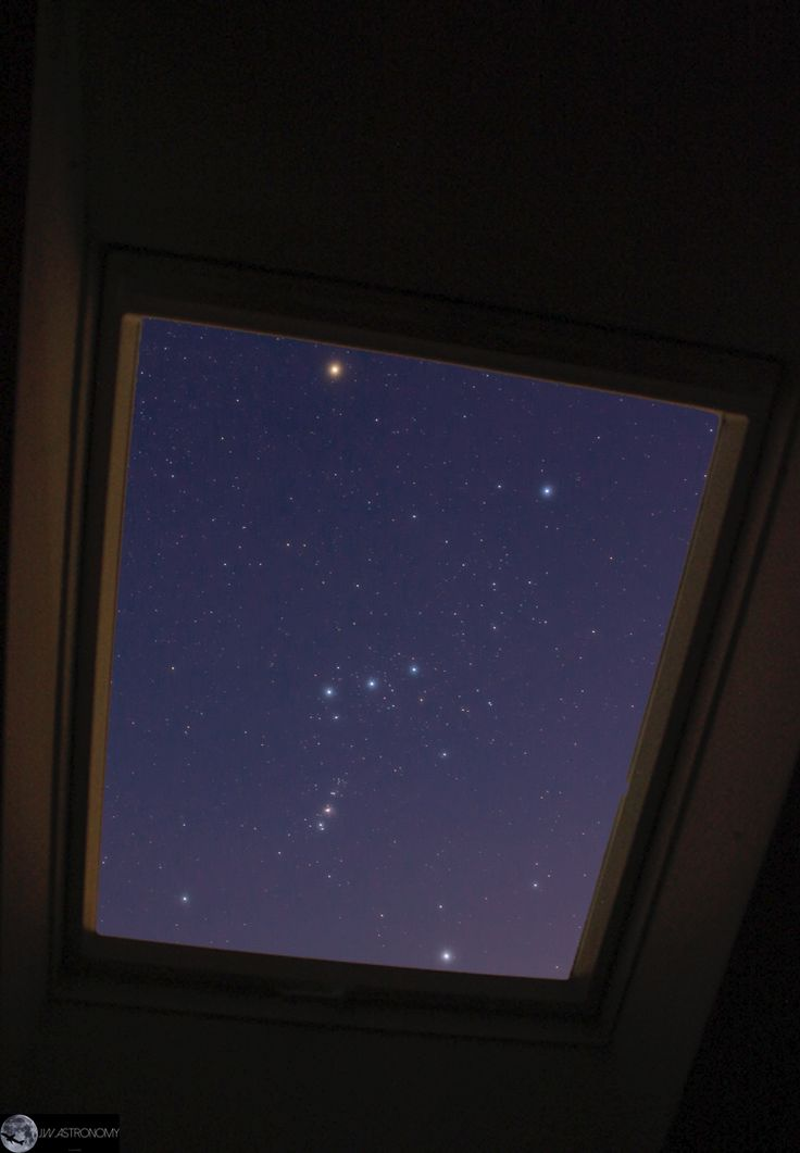 jwastronomy:  Orion through the window jwastronomy.com Canon 60D, 18mm, ISO 800, F3,5, 6x 25s   This is my look through the window at night. You can see my favourite constellation here: Orion. I had to shoot this picture from inside my house because outside was too much wind and the weather condition were unstable.   Feel free to share!