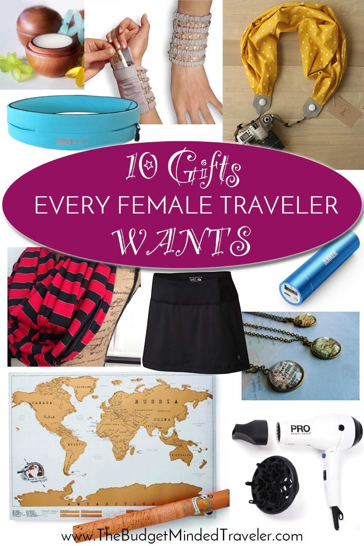 Female travelers, share this list with your honey. These travel-inspired, innovative, useful, fun, or simply pretty gifts are those we could ALL use!