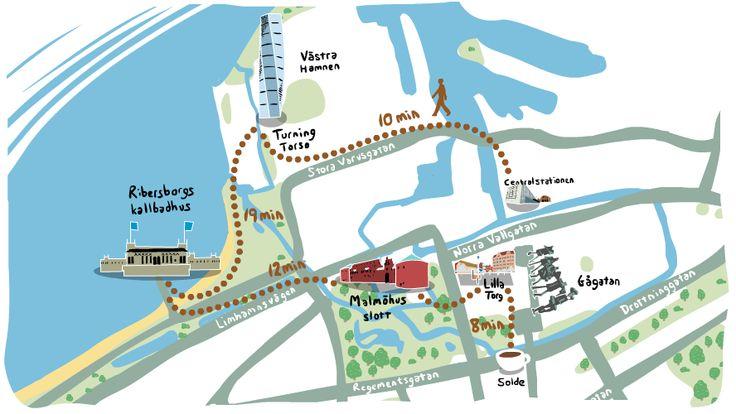 Karta med sommaraktiviteter i Malmö.