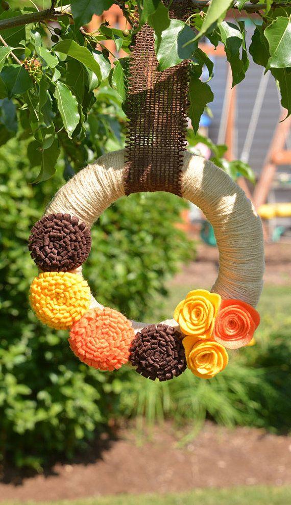 Thanksgiving  Wreath  Fall Yarn Wreath with Felt by KutItOutCrafts, $35.00