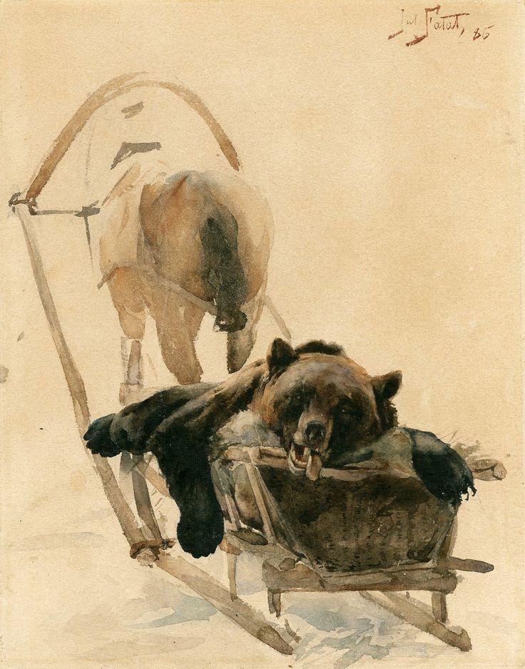 Dead bear on sleigh by Julian Fałat, 1886 (PD-art/old), Ossolineum