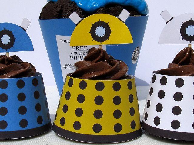 tardis template for cake - dalek and tardis cupcake wrappers just print the