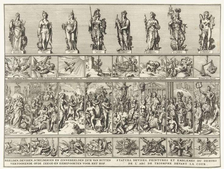 Beelden, deviezen, emblemen en andere schilderijen op de triomfbogen voor het Buitenhof, 1691, Romeyn de Hooghe, 1691