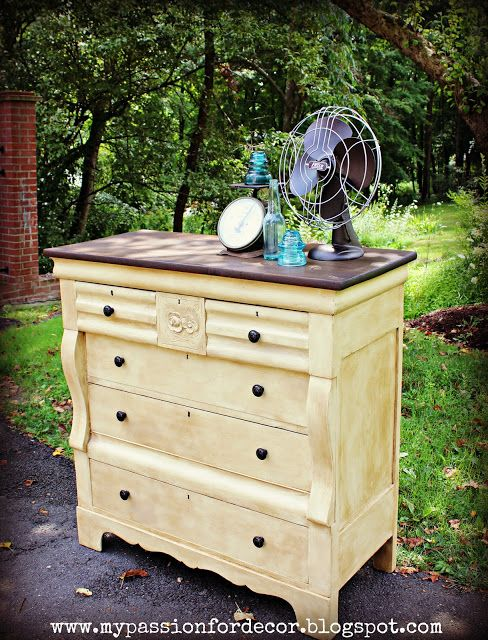 My Passion For Decor: Creamy Butter Yellow Dresser redo
