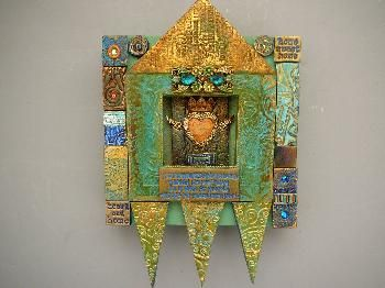 Laurie Mika polymer clay shrines: Mika Art, Art Assemblages, Clay Artists, Collage Art, Clay Shrine, Artists Lauri, Lauri Mika Mikaart, Polymer Clay, Artists Assemblages