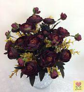 3 X Artificial Flower Silk Flowers  Dark Red Peony Flower Bushes/Cintahomedeco