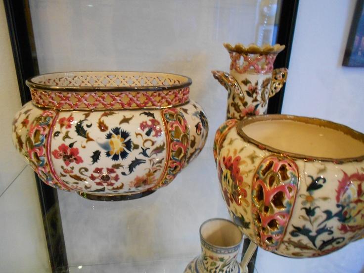 Zsolnay flowerpot and vase